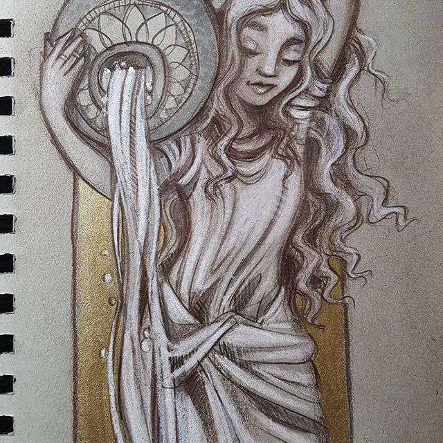 The last water nymph in this series inspired by #Jeangoujon . . . . . #sketchbook #goujon #rebeccastuhff #arthistory #arthistorynerd #nymph #waternymph
