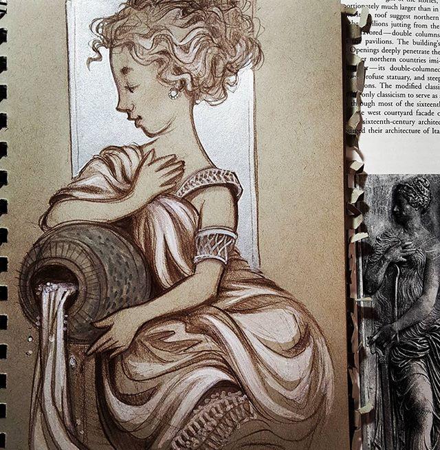 #goujon inspired nymph . . . . .  #jeangoujon #arthistorygeek #sketchbook #colorerase  #rebeccastuhff