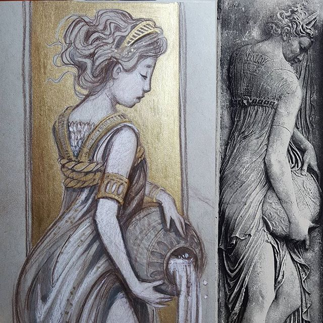 Nymph #3 inspired by the marble reliefs by Jean Goujon. . . . . #Jeangoujon #goujon #fountainoftheinnocents #sketchbook #rebeccastuhff #nymph #waternymph #nymphart #arthistorynerd #arthistorygeek #arthistory