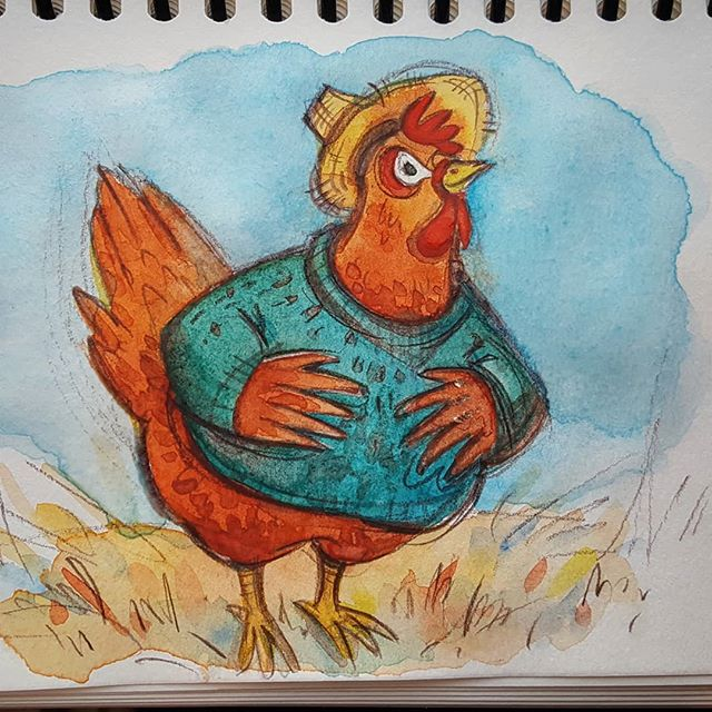 Just for fun. Quick watercolor sketch. . . . . #littleredhen #watercolorsketch #chickendrawing #rebeccastuhff #sketchbook #cutechicken #sunhat