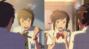 One of the many disagreements between Taki (left) and Mitsuha (right) during their body swaps.