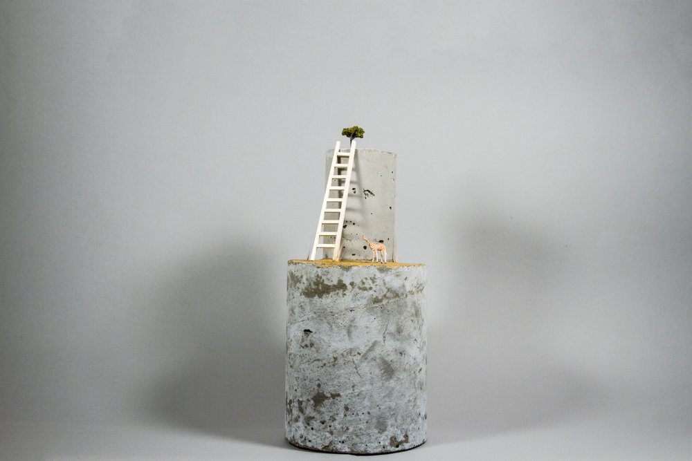 """This Tall To Ride""    Porcelain, Cement, Sand, 5"" x 5"" x 11"""