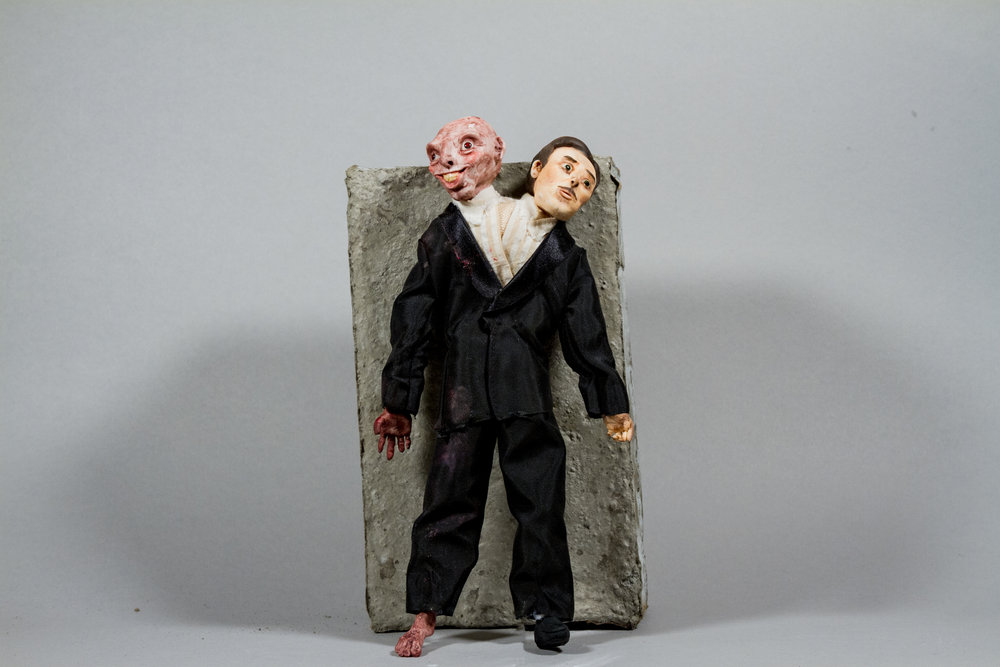 """Dr. Jekyll and Mr. Hyde""    Porcelain, Ken's clothes, 3"" x 1"" x 6"""