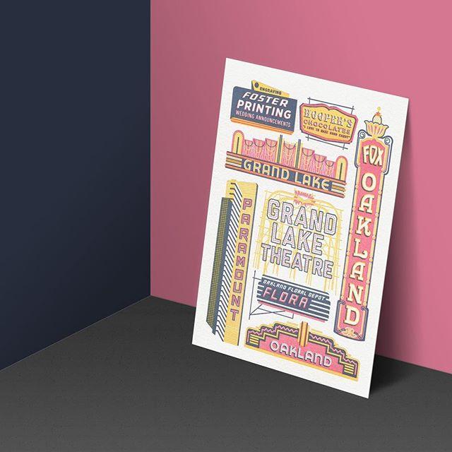 Historic Signage & Marquee #oakland #historic #signage #marquee #grandlaketheater #foxtheateroakland #oaklandillustrated #letterpress #limitededition #print #art #artwork #printseries #illustration #theweekendpress