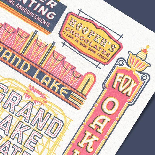 Historic Signage & Marquee details — by @itsannahurley . . . . . #oakland #historic #signage #marquee #grandlaketheater #foxtheateroakland #oaklandillustrated #letterpress #limitededition #print #art #artwork #printseries #illustration #theweekendpress
