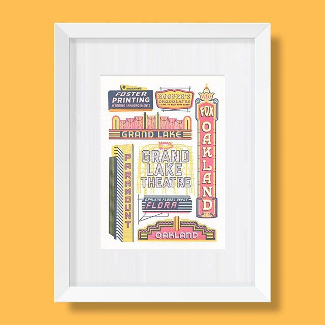 """Did you know—the roof sign mounted on top of the Grand Lake Theatre was """"the largest rotary contact sign west of the Mississippi River."""" ✨It consists of 2,800 colored bulbs✨ . . . . . #oaklandhistory #oakland #historicsignage #grandlaketheater #marquee #oaklandfoxtheater #oaklandillustrated #letterpress #art #print #limitededition #printseries"""