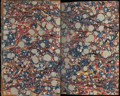 These beautiful marbled endpapers don't necessarily illustrate the contents of the book.
