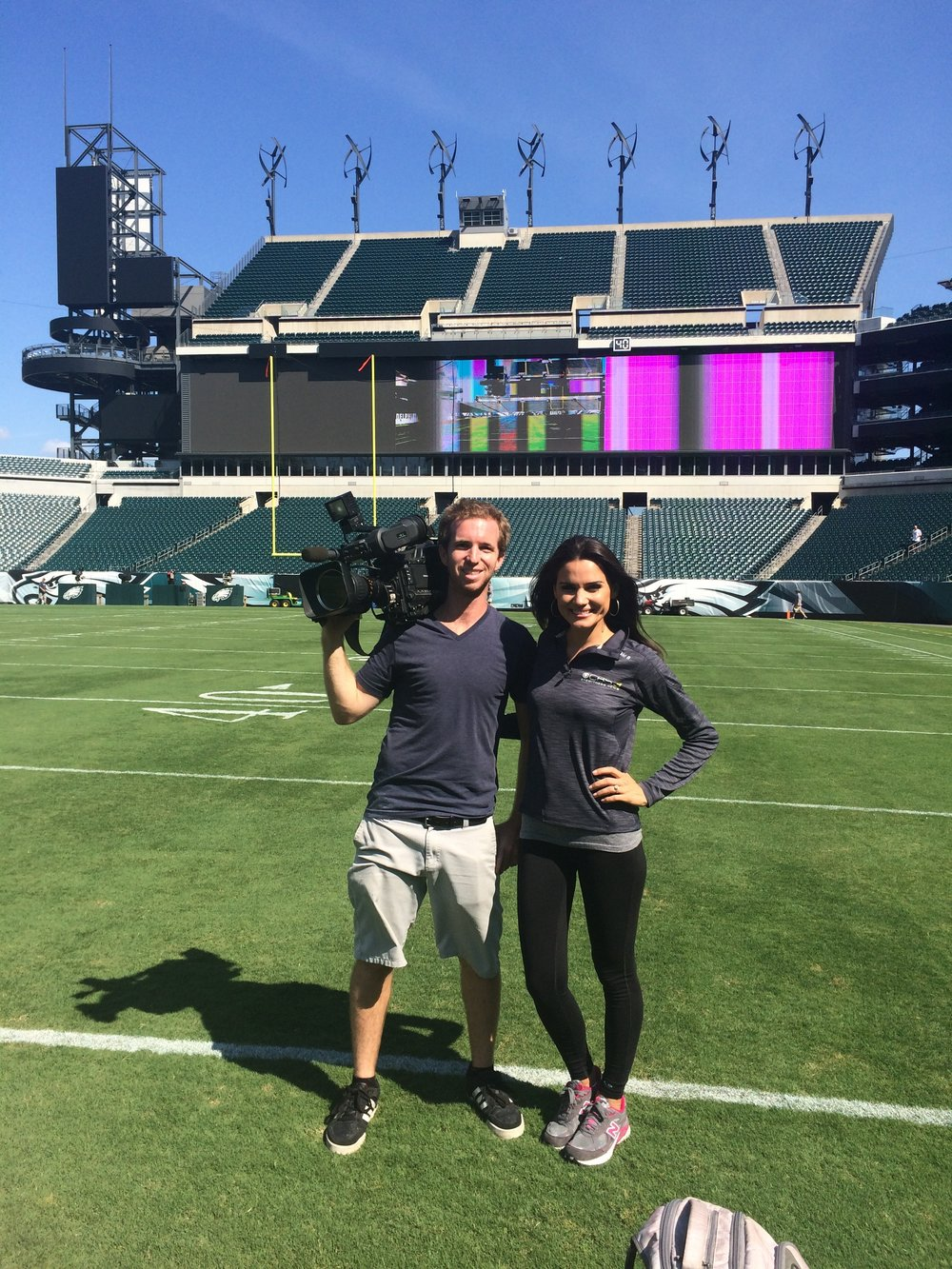 Nicole Brewer poses with CBS3 photographer ahead of the Eagles season opener!