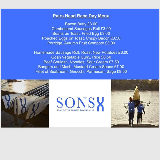 There is some exciting racing this weekend marking the start of the head racing season with Pairs Head race right on our doorstep.  Come and support and help out the club for our SONS and 30+ visiting crews  Racing starts from 3pm with a healthy dose of socialising in the bar during and after. Check out our Race day menu served at Linden house while we watch the racing. #rowing #towingrelated #raceday