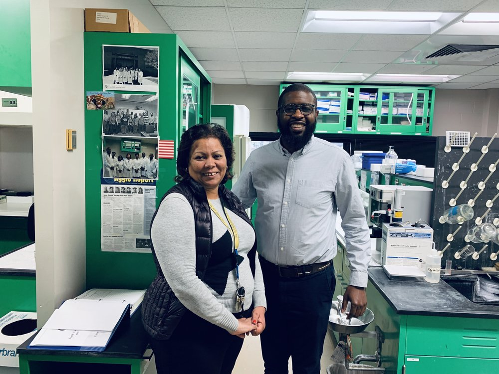 Visiting my undergrad alma mater, NCAT, in January 2019. This was one of my favorite professors and my lab supervisor, Dr. Worku. I worked here in this lab using C.elegans as a model genetic system.