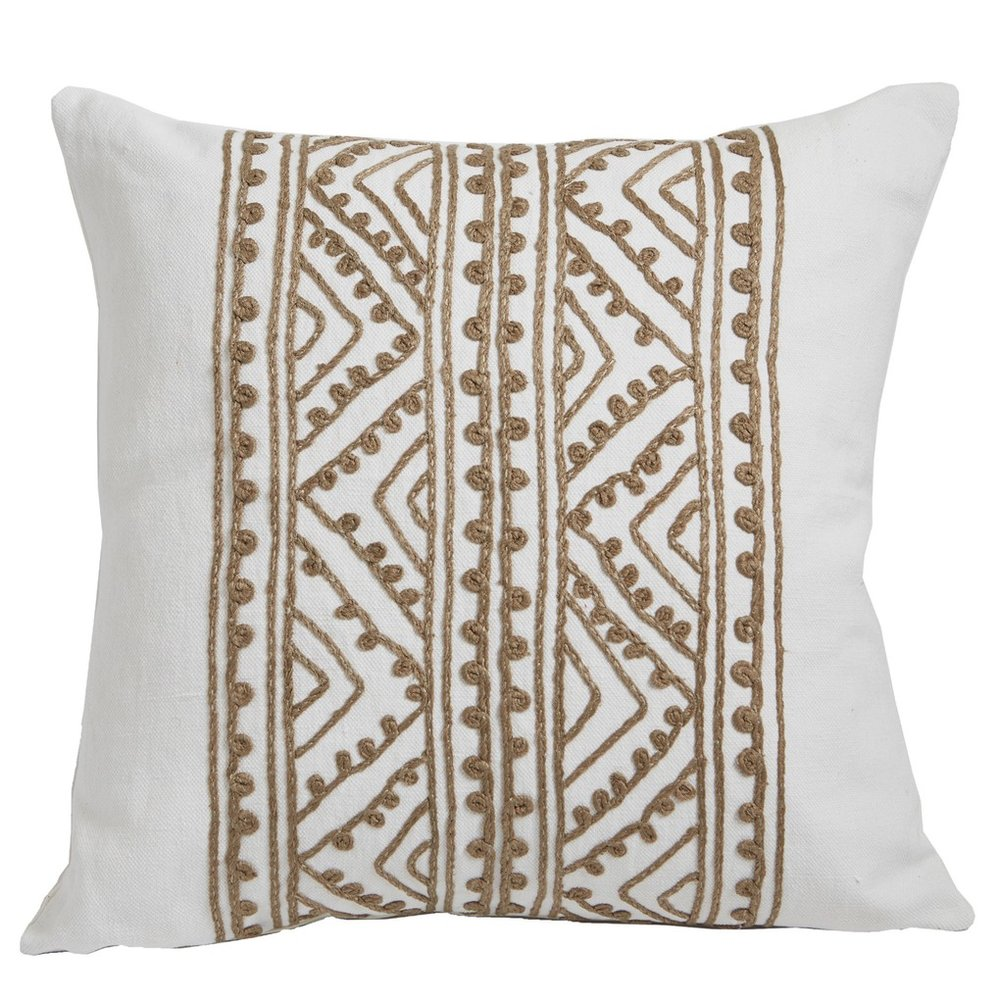 """White Hemp Embroidered Pillow - 20"""" Square$249"""