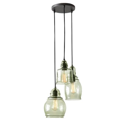 Paxton 3-Light Glass Pendant - A gently mottled texture and a subtle green hue characterize each shade of our pendant, generously sized and ideal for high ceilings. Each shade is created of molded blown glass in an eclectic shape and affixed to the wrought-iron frame.$299