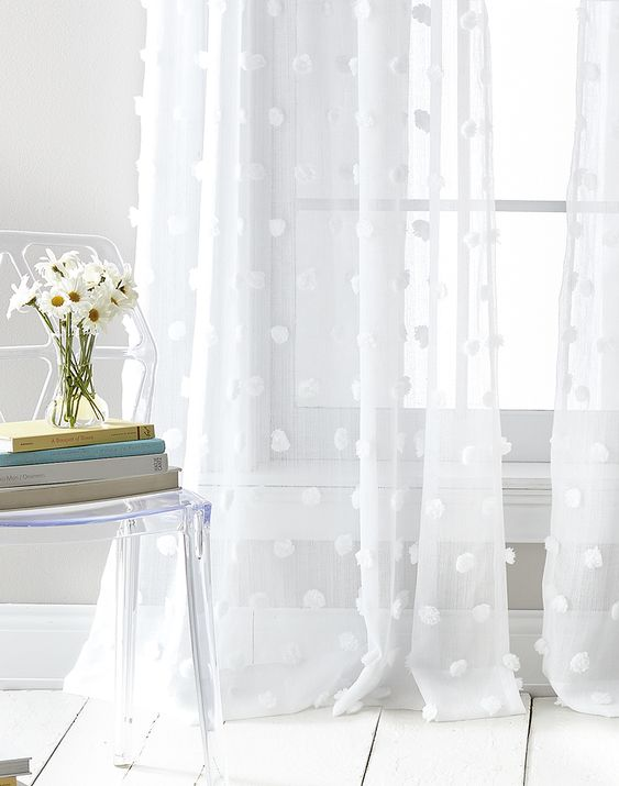 DKNY Ella Sheers - Hang up the flirty pole top window panels for a fun accent to your home.The sheer panels are adorned with detailed pom poms in pastel colors that perfectly complement your décor.$39.99 per panel
