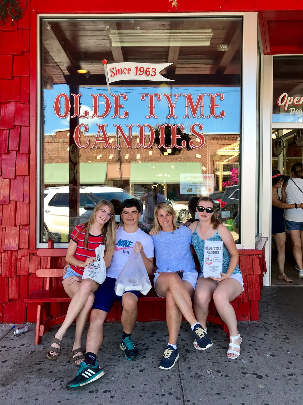 My mom, sister, Brandon and me at a famous candy store in Hayward, Wisconsin