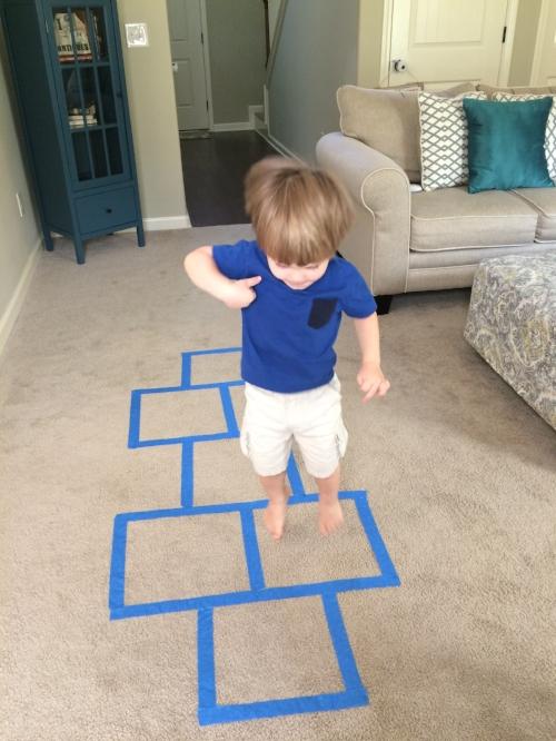 Indoor hopscotch game