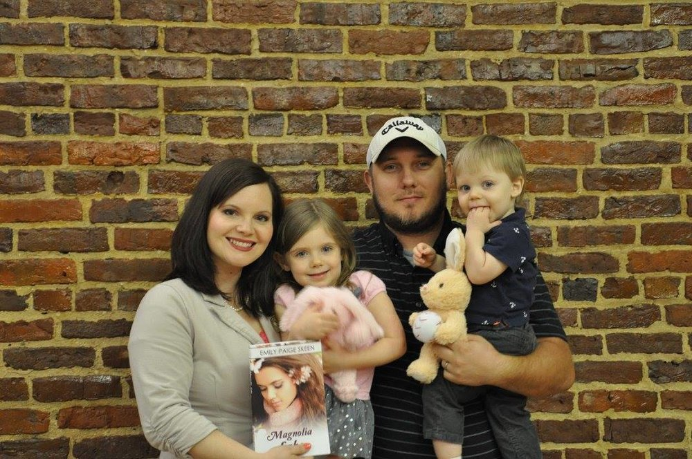 Romantic suspense author Emily Paige Skeen and family at launch party for Magnolia Lake