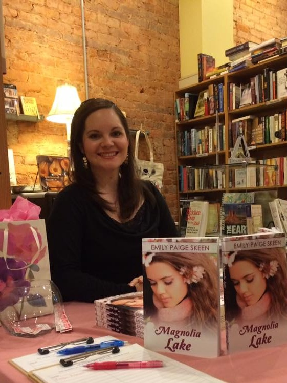 Author Emily Paige Skeen selling books at a local bookstore