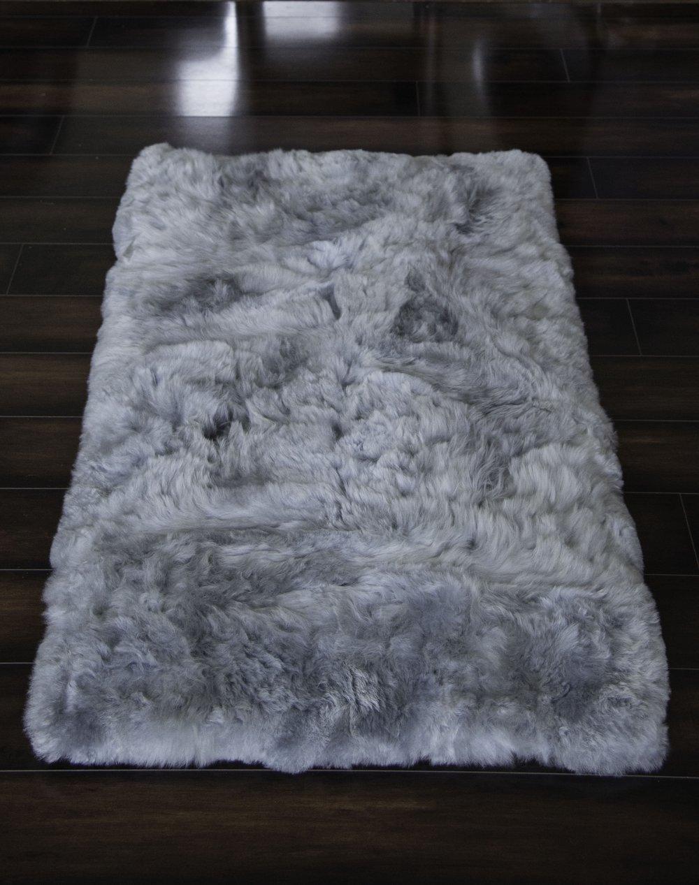 Hua Alpaca rug, fur rug in Light Gray