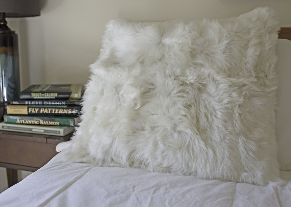 Suri Alpaca pillow, fur pillow in Pearl White