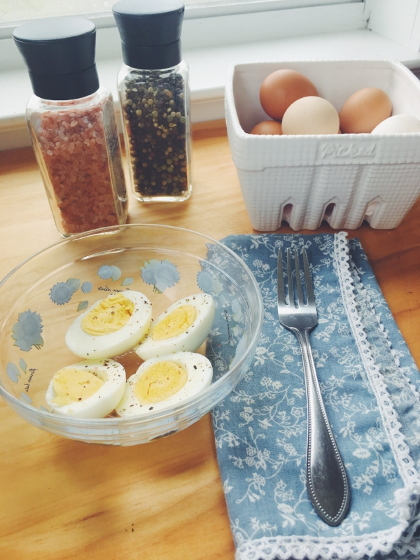 My favorite way to eat a hard boiled egg - just a little salt and pepper :)