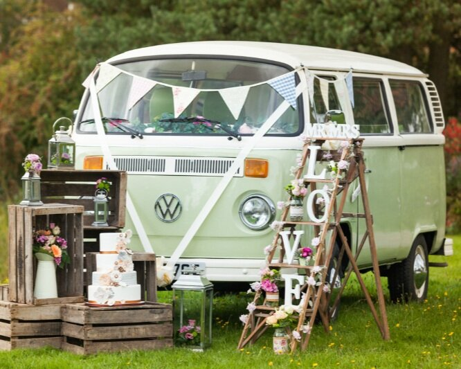 Buttercup Bus  - Impeccably restored VW Campers and classic Beetles for wedding transportation. Campervan photobooth also available for evening party.