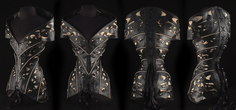 2011 - Hand cut and tooled leather + satin inlay + coutil lining