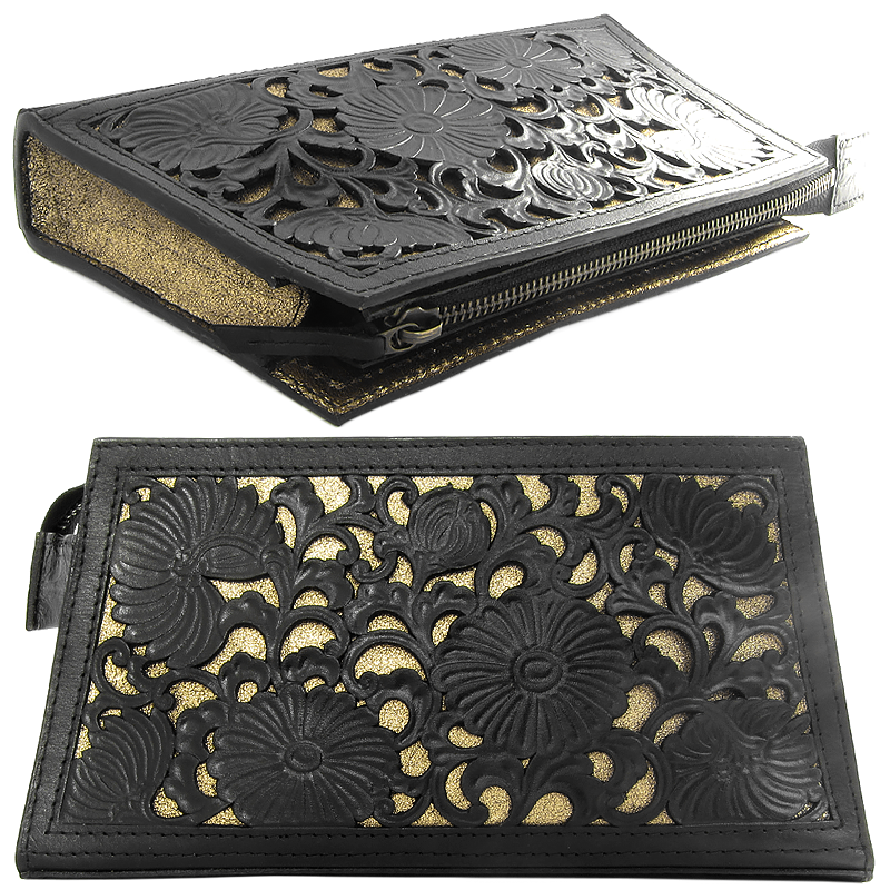 2016 - Hand cut and tooled leather + foiled leather