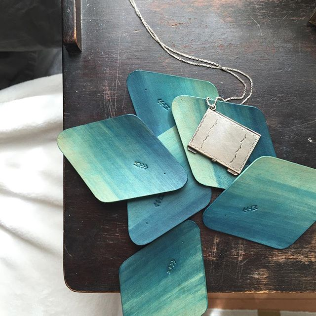 Hand dyed leathers on the bedside.