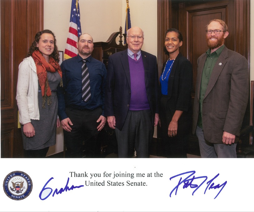 Rural Vermont Field Organizer Graham Unangst-Rufenacht (right) & the Vermont contingent with Senator Leahy and staff at the recent Young Farmers Coalition meetup in Washington, D.C.