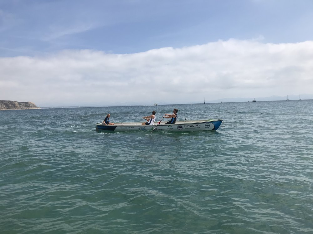 Adam and Ben rowing in Abersoch on Saturday 14th July