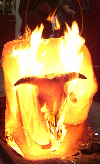 Time based sculpture, skull embedded in molten glass. 2006