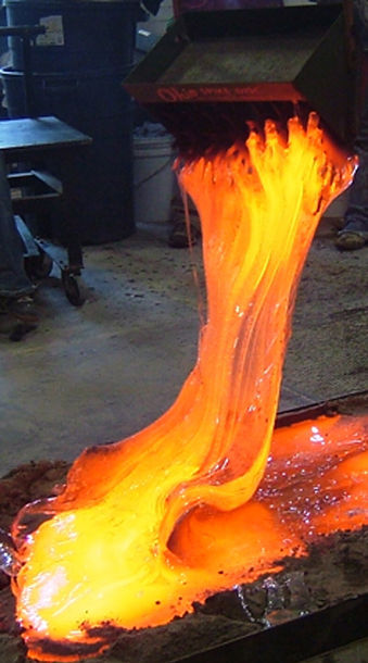 Molten glass rising to the sk