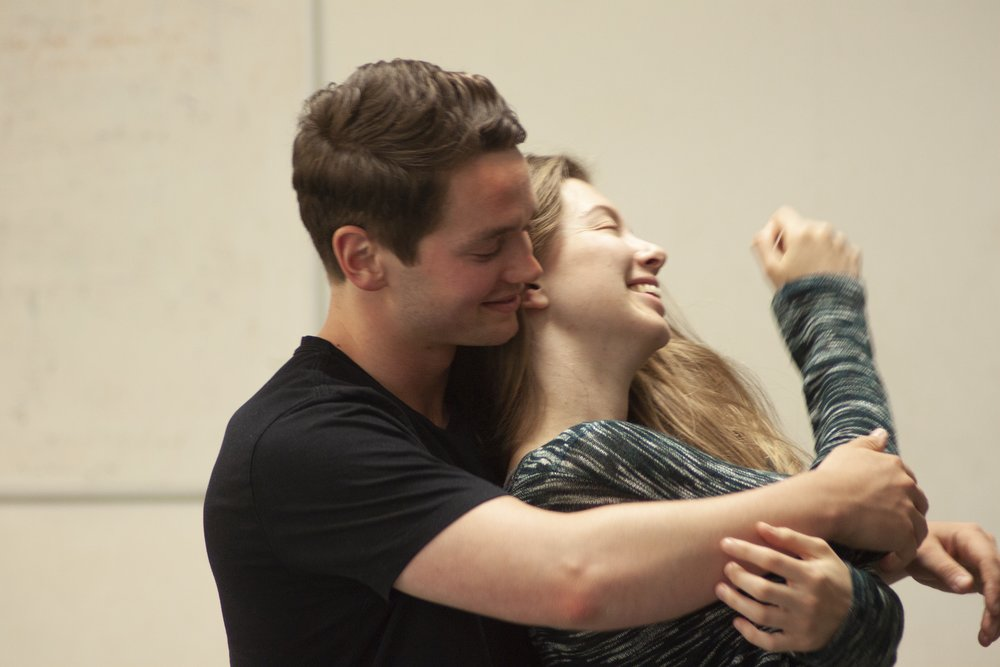 George John (Christian) and Kathryn Crosby (Laura), rehearsal image