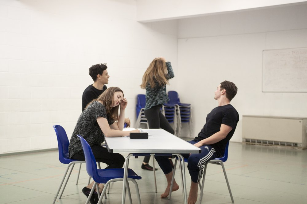 Left to right: Jennie Eggleton (Carrie), Aaron Douglas (Ollie), Kathryn Crosby (Laura), George John (Christian), rehearsal image.