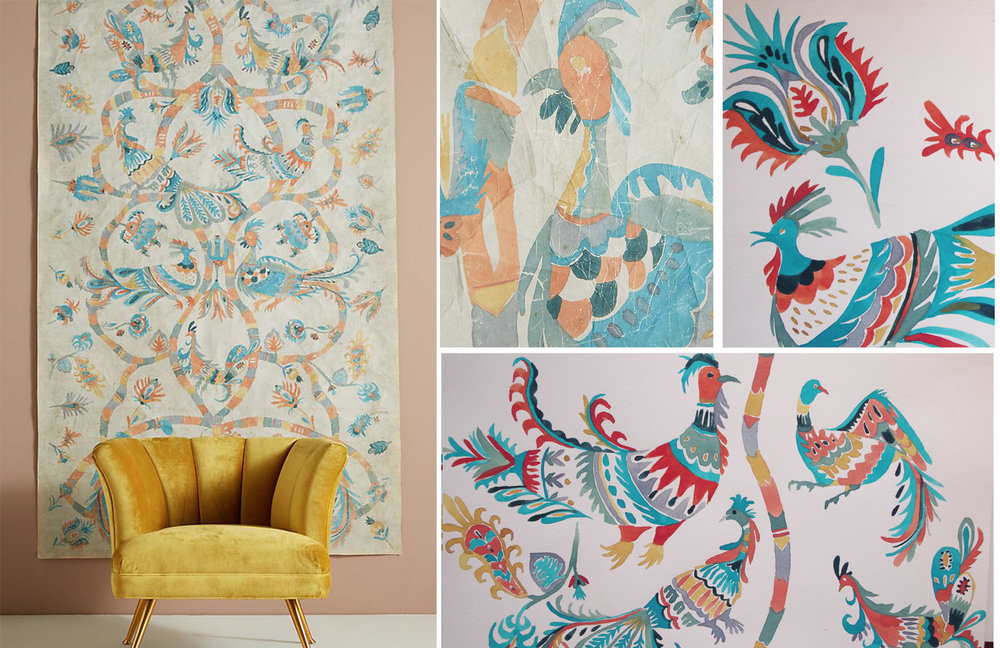 Anthropologie Home - Lily birds Tapestry - Spring 2018