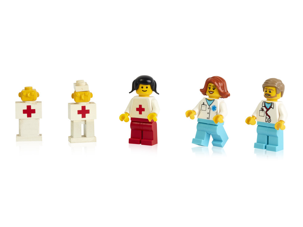 Early prototypes, first and more recent minifigure doctors.jpg