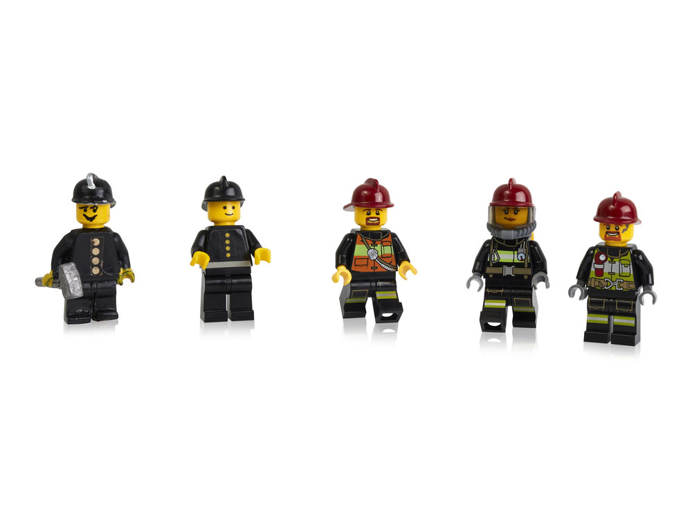 Early prototypes, first and more recent minifigure firefighters.jpg