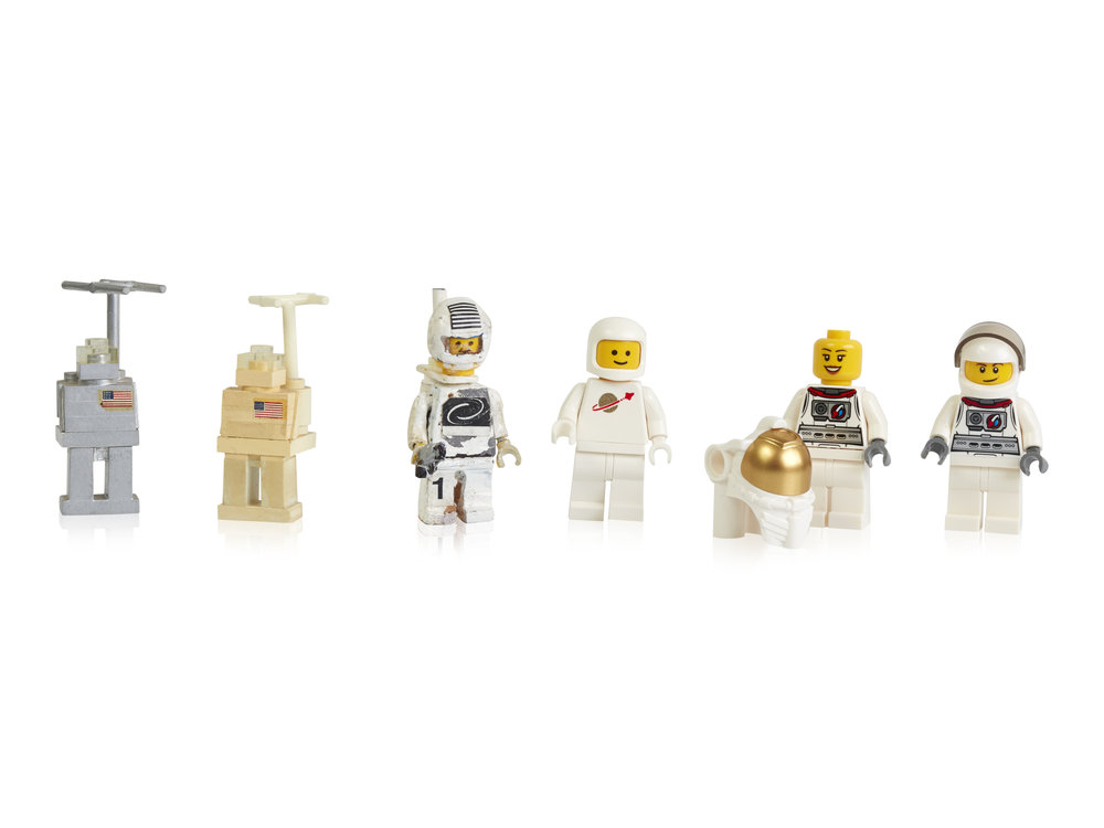 Early prototypes, first and more recent space minifigures.jpg