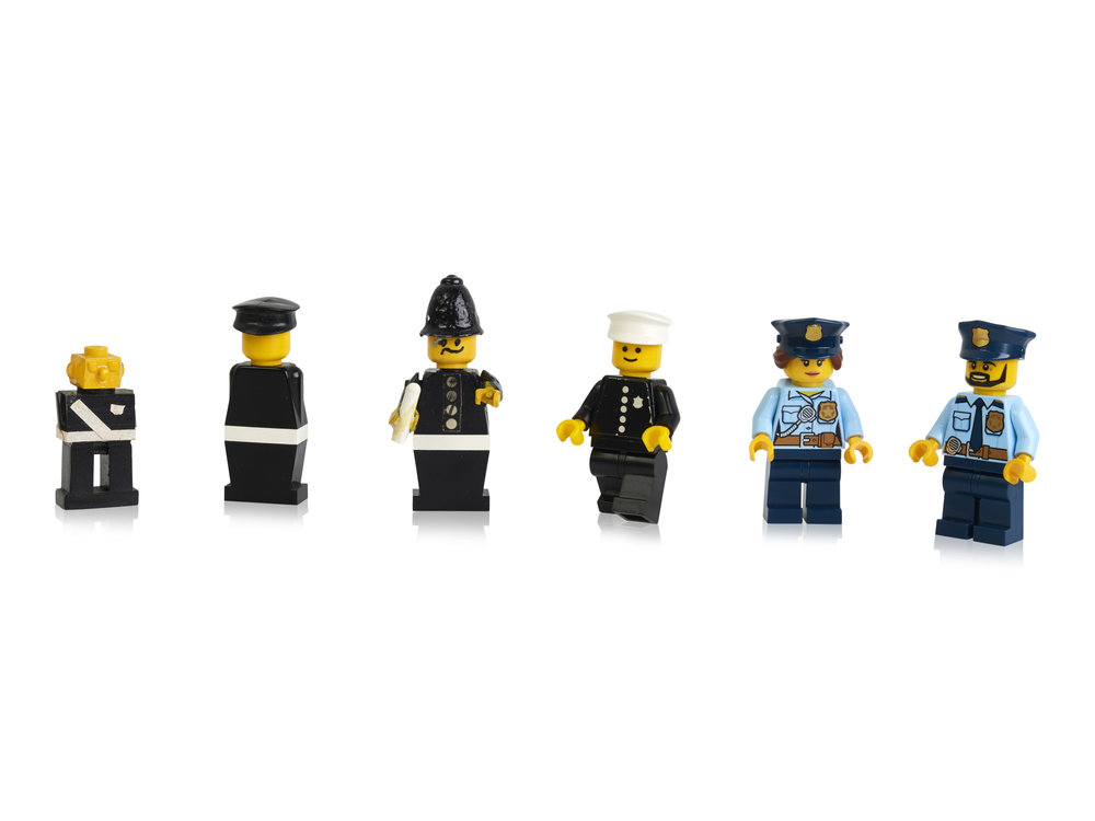Early prototypes, first and more recent police minifigures.jpg