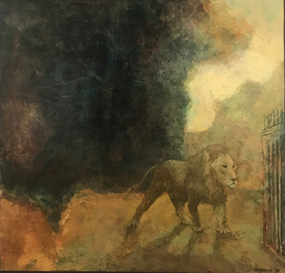"""Lion at the Gate""  ""28 x 28 1/2"""