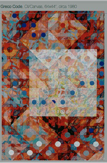 "Greco Code  64"" x 44""  oil on canvas"