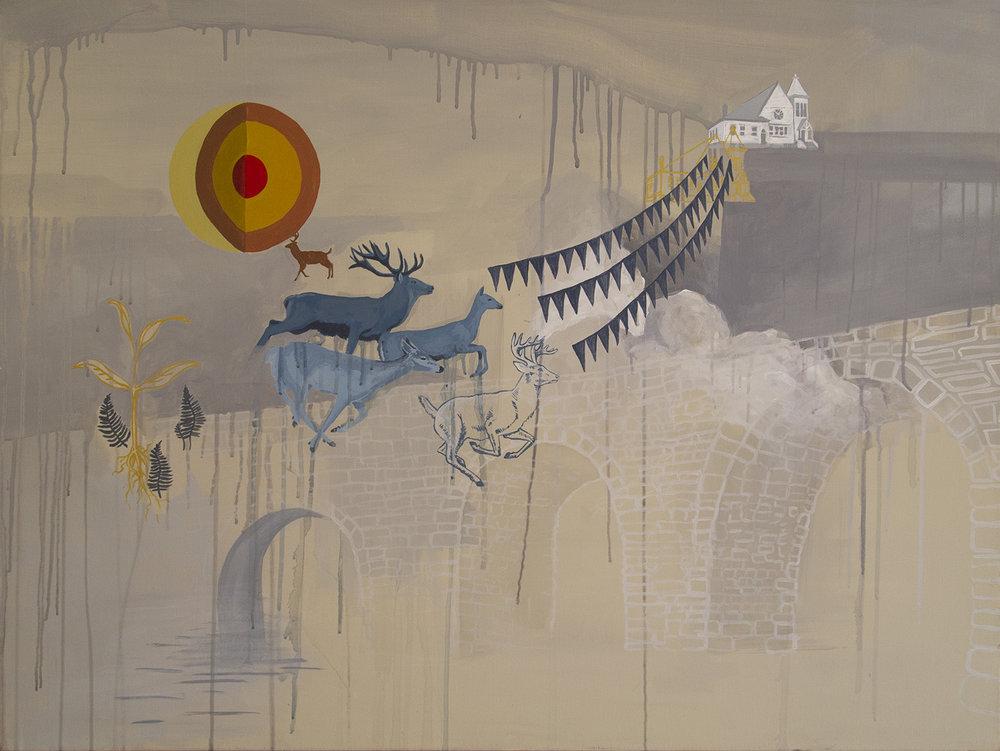 """The Bridge""  painting  acrylic, oil, gouache"