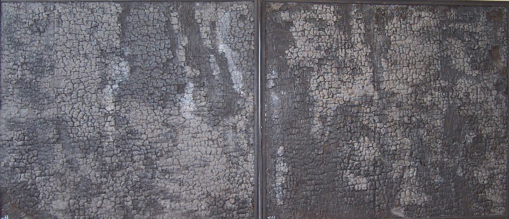 """""""The Silence""""  diptych 43"""" x 98""""  burnt charred wood, paint  SOLD"""