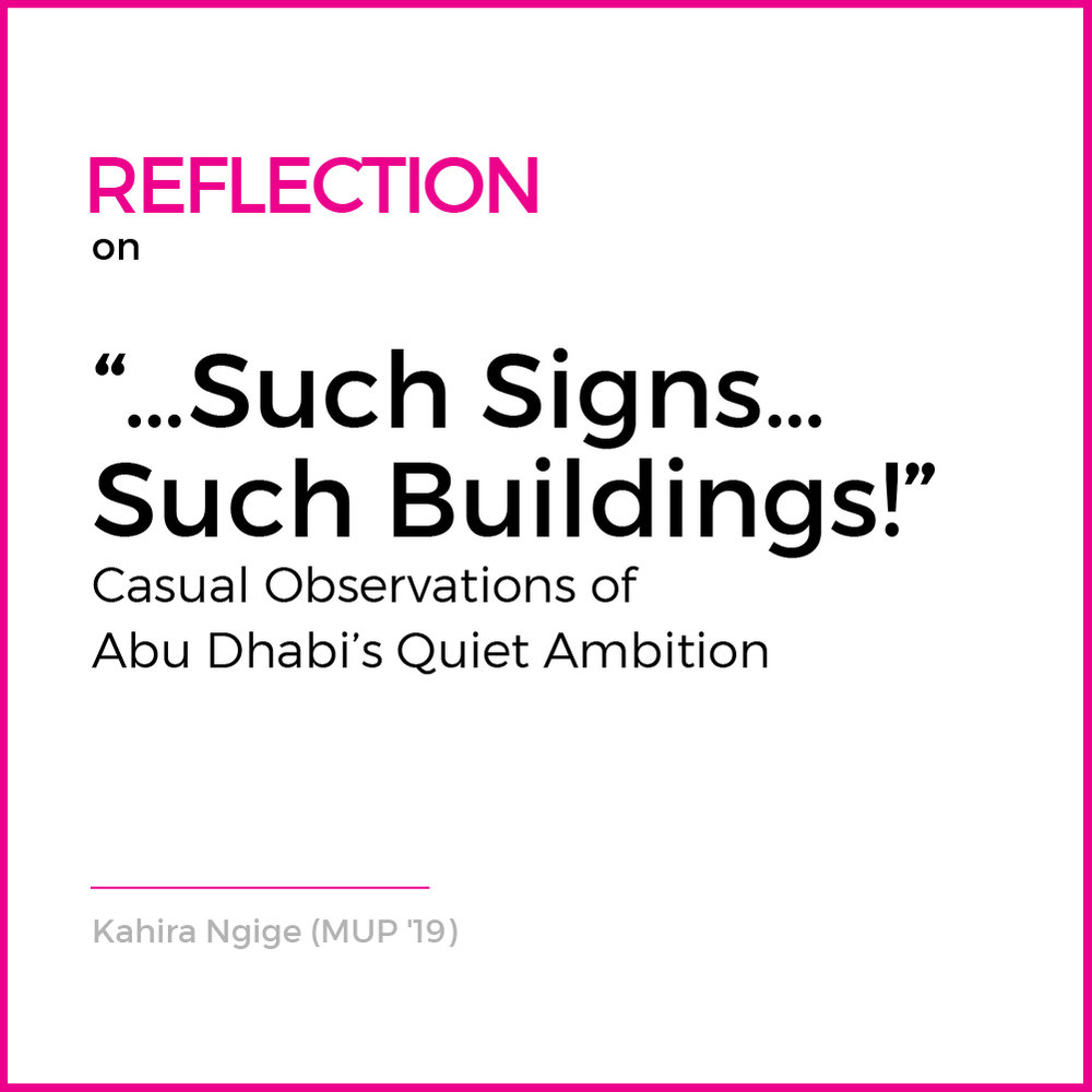 Abu Dhabi and Dubai are twin cities. Like twins, casual observers are shocked when they display divergent personalities. Dubai is 'bling', Abu Dhabi 'underrated'. Both cities are notable for being casually obliterated by David Harvey....( Read More )