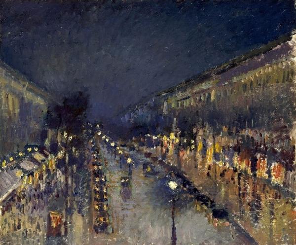"""Camille Pissaro:   """"Le Boulevard Montmartre, effet de nuit (The Boulevard Montmartre at Night)"""" ,"""