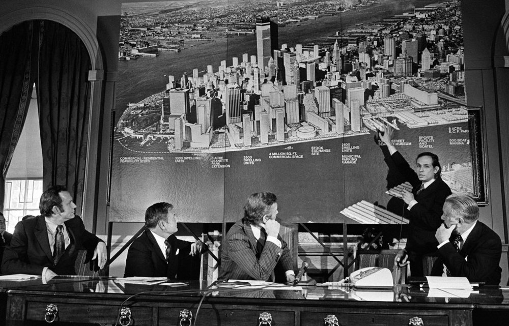 Richard Weinstein, Director of the Office of Planning and Development for Lower Manhattan within New York City's Department of City Planning, presenting a new development project in Manhattan, 1972;