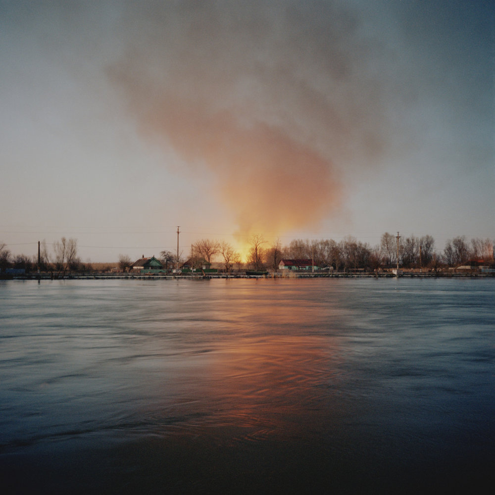 Fire in the Danube delta near Sulina.