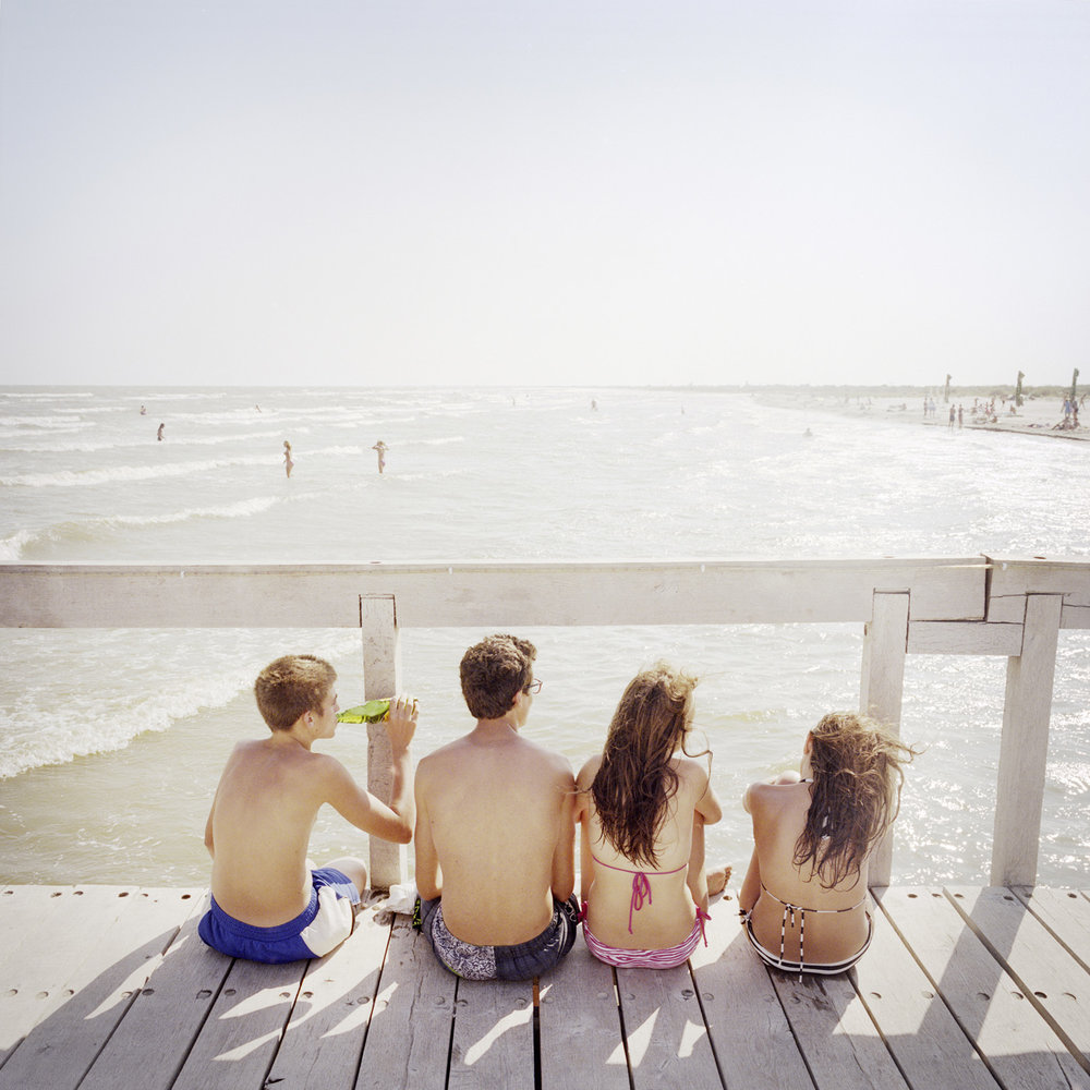 Sulina beach. It is the principal attraction of the city with the delta. Young people from Sulina