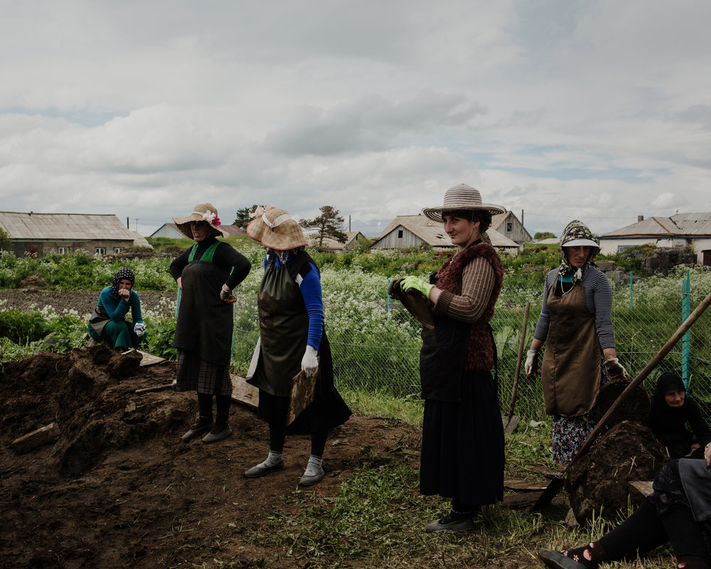 Georgia(ns) - Work in Progress / Adjarian women from Gorelovka are preparing heating bricks with cowpat.