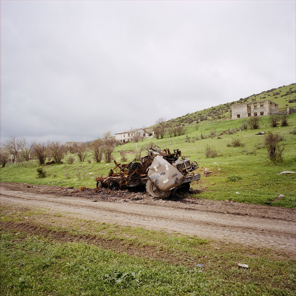 A destroyed military vehicle in Talish after the 2016 4 days war